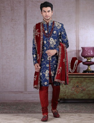 Raw silk navy indo western wedding wear
