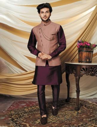 Raw silk peach and violet printed waistcoat set