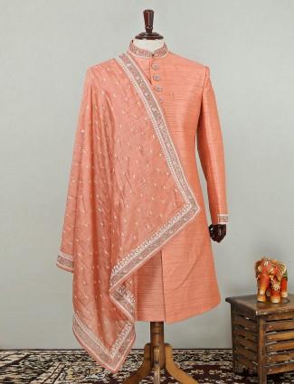 Raw silk peach sherwani for wedding