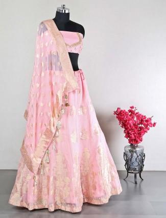 Raw silk peach unstitched lehenga choli for wedding