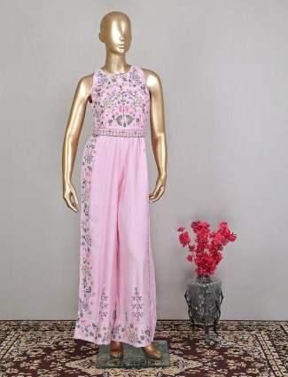 Raw silk pink jumpsuit for wedding and reception wear