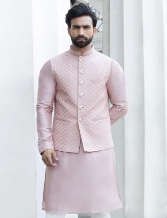 Raw silk pink waistcoat kurta set for mens