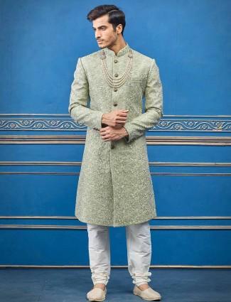 Raw silk pista green sherwani for groom