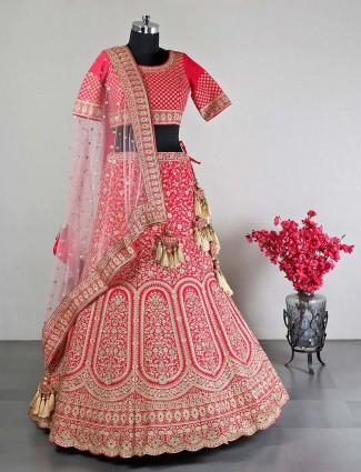 Raw silk red wedding lehenga choli