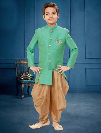 Raw silk sea green color party wear indo western