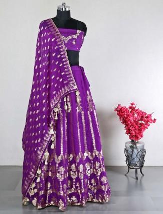 Raw silk violet wedding wear unstitched lehenga choli