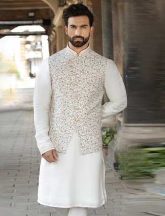 Raw silk waistcoat and churidar set in cream for party