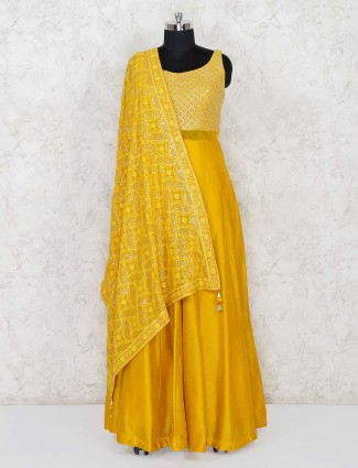 Raw silk yellow anarkali salwar suit