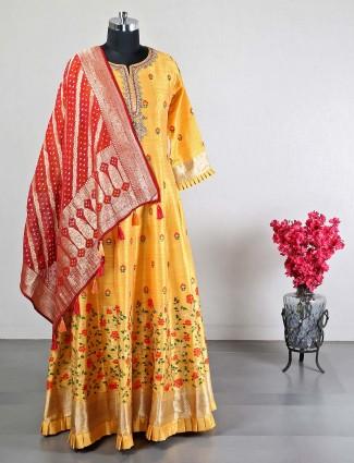 Raw silk yellow anarkali suit
