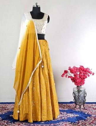 Raw silk yellow wedding wear lehenga choli