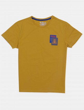 Raxstraut presented solid style ochre-yellow shade t-shirt