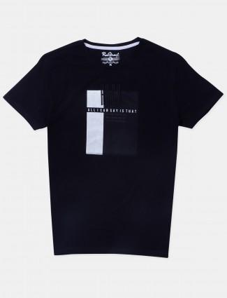 Raxstraut printed style black slim-fit t-shirt