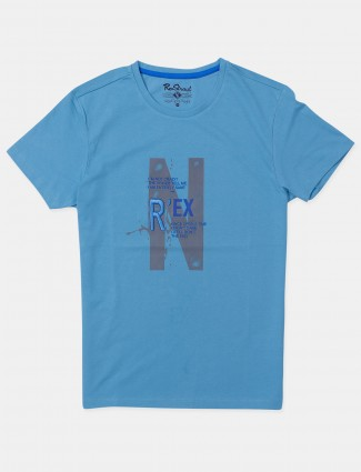 Raxstraut printed style sky blue t-shirt for mens