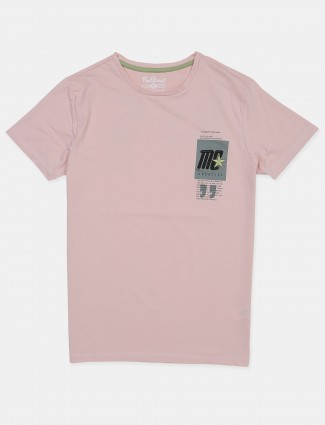 Raxstraut solid style peach shade cotton casual t-shirt for men