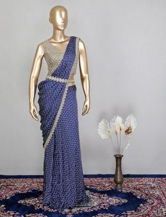Ready to wear gorgeous blue silk wedding wear saree