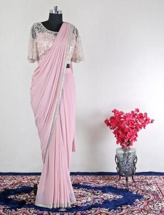 Ready to wear pink net wedding saree