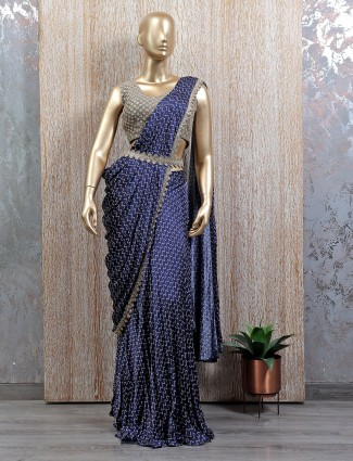Ready to wear saree in blue tint with readymade blouse