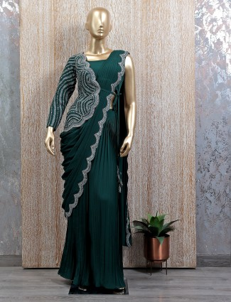 Ready to wear saree in bottle green hue with readymade blouse