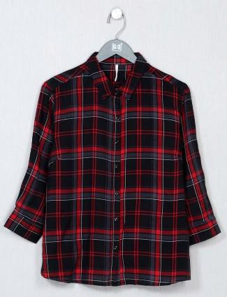 Recap black cotton chexs top