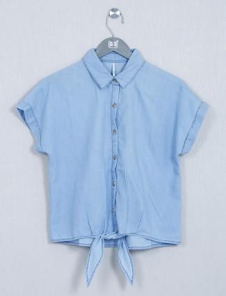 Recap blue cotton casual wear top