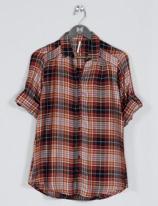 Recap brown women cotton casual shirt