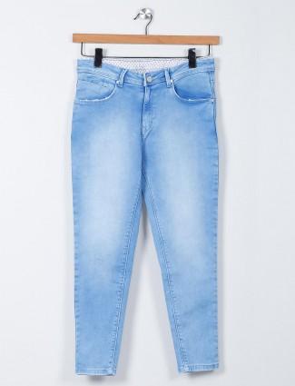 Recap light blue jeans for women