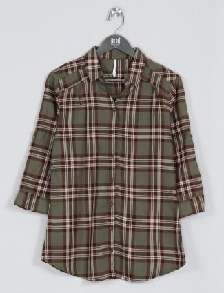 Recap olive cotton checks shirt for women