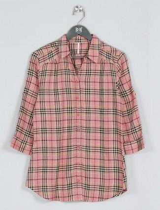 Recap pink cotton checks shirt for women