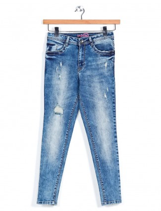 Recap ripped blue jeans for womens wear