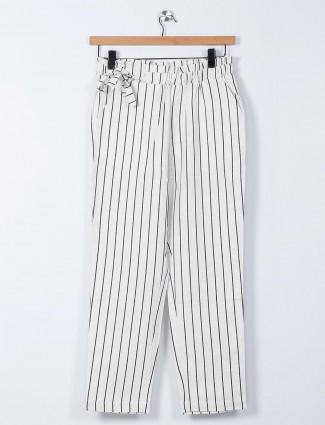 Recap white linen striped palazzo