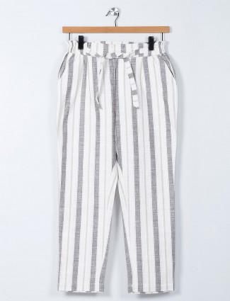 Recap white palazzo pant in stripes