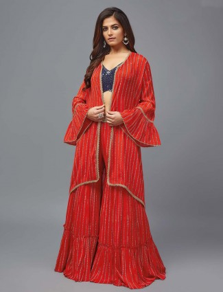 Red and blue hue punjabi sharara suit in georgette