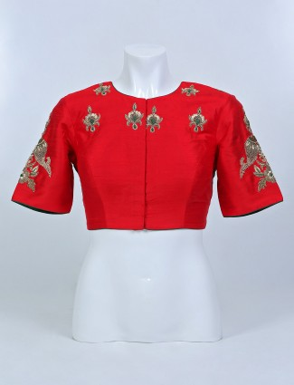 Red and green shade ready made blouse in raw silk