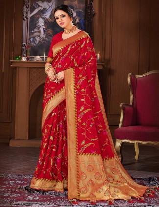 Red banarasi silk saree for wedding events