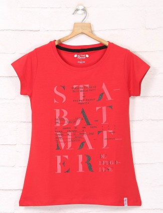 Red casual wear cotton tshirt