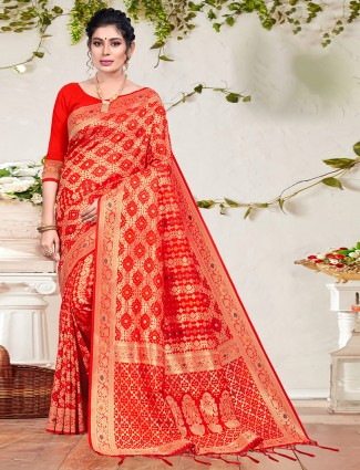 Red charming wedding occasions saree in patola silk