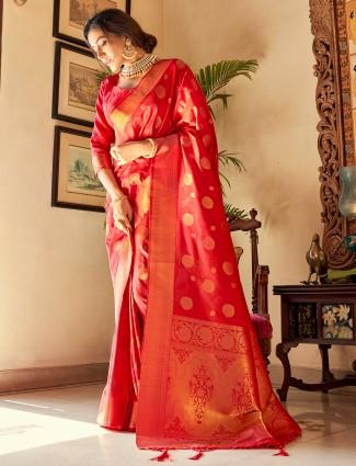 Red color jacquard silk wedding ceremonies saree
