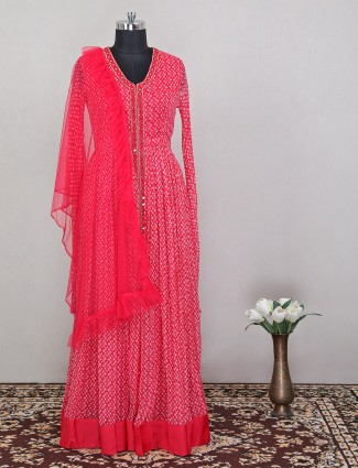 Red colored adorable printed anarkali in georgette