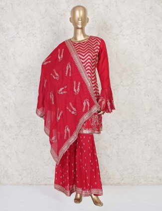 Red colored sharara suit in cotton silk