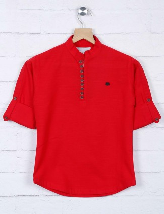 Red cotton fabric chinese neck shirt