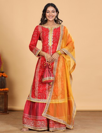 Red cotton festive events punjabi style sharara suit with gota details