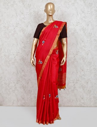 Red cotton linen saree with readymade blouse