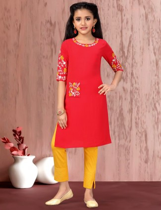 Red cotton round neck pant suit