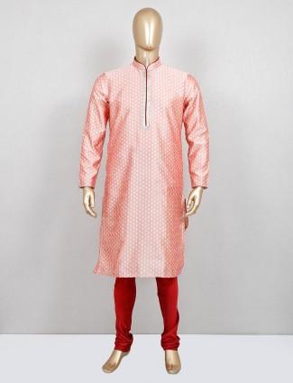 Light pink cotton silk kurta suit festive wear
