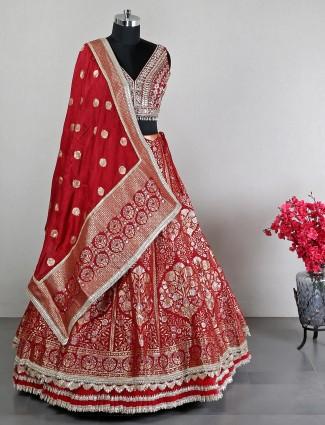 Red cotton silk lehenga choli for wedding