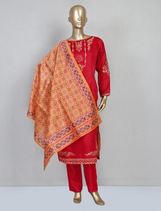 Red cotton silk salwar suit design for festival