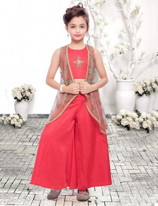 Red cotton silk sleeveless jacket style palazzo suit