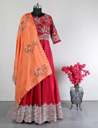 Red cotton silk wedding look anarkali