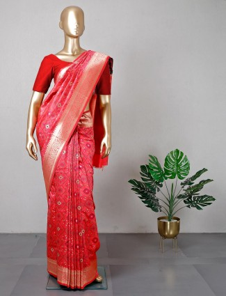 Red cotton silk women saree for festive