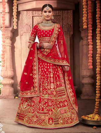 Red designer bridal semi stitched lehenga for weddings
